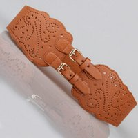 Compra Para mujer cinturones elásticos-Venta al por mayor- moda hebilla doble cinturón elástico de la cintura corsé amplio corsé del estiramiento