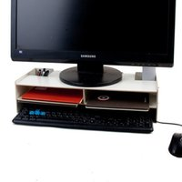 Wholesale YUMU LCD Computer Monitors Riser Increased Double decker Desktop Laptop Keyboard Base Support Bracket Increased Wooden Frame Chassis