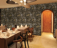 Wholesale 3d grey slate brick rock wallpaper for walls for living room restaurant coffe bar office workshop
