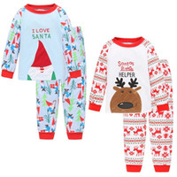 Wholesale Christmas Pajamas outfits cartoon baby long sleeved pants set Tracksuit Santa and Christmas deer suit kids Clothing styles C1444