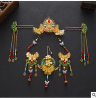 Wholesale Chinese style wedding jewelry more woolly The bride rockhopper cloisonne ornaments