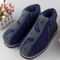 Wholesale Winter wool hand woven cotton padded shoes mens warm non slip Home Furnishing thick bottom chamber
