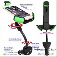 android usb mount - Car Mount Smartphone Holder with Dual USB A Charger With Over Charge and Over Current Protection for Iphone Android Inch phone