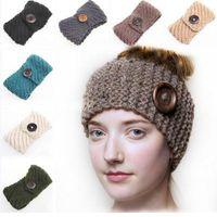 Wholesale Knit Ear Warmer Blanks Crochet Headband with Wood Buttons Handmade Wool Blend Chunky Headwrap Cozy in Oatmeal DOMIL106098
