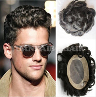 Wholesale Human hair toupee black color loose wave mens hair replacement wig for men