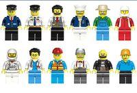 al por mayor figuras de la gente modelo-Minifigures 12 Pcs diferentes profesión de dibujos animados cosmonautMen personas modelo de figuras bloques de construcción juguetes educativos DIY ladrillos juguetes
