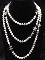 Wholesale NEW Top Long AAA mm sea white shell pearl necklace quot Crystal Clasp