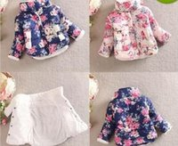 Wholesale Baby Winter Girls Cotton Floral Coat Long Sleeve Jacket Thick Winter Warm Outerwear