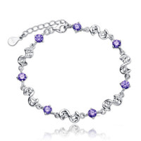 Wholesale Summer Beach Women Sterling Silver Crystal Jewelry Purple and White Amethyst Charm Bracelet for Valentine s Day Small Gift