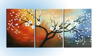 abstract modern contemporary art canvas - Hand Drawing Modern Abstract Oil Paintings White Flowers Panels Canvas Contemporary Art work Wood Inside Framed Hanging Wall Decoration