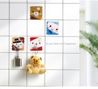 Wholesale Cartoon cute bear self adhensive seamless sticky hooks kitchen bath room living room bed room wall door multiple utilization holder