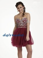 Wholesale Short Prom Dresses Wine Color Sweetheart Sleeveless Pleats Tulle with Shining Sequins Beads Zipper Back Custom Made