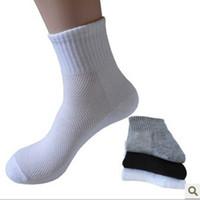 Wholesale 1 pair Men s socks Solid Black White Gray Sock Cotton Brand Quality Sportwear Male socks