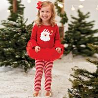 Wholesale XMAS Toddler Kids Baby Girl Outfit T shirt Top Tutu Dress Pants Clothes Set
