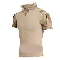 Wholesale Tactical Clothing Men Camouflage T shirt Men Cotton Army Tactical Combat T Shirt Sport Camo Camp Mens T Shirts Summer Polo shirt
