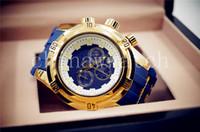 achat en gros de styles matériels-2018 Top qualité 52mm Big Dials Luxe Styles Mens bleu Montres Quartz Montre Matériel Silicone sangles