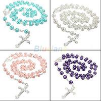 al por mayor bolas de plata de cadena larga-La cadena larga del rosario del collar pendiente-Al por mayor-imita la bola de la perla rebordea el collar de plata de la gota de la perla los colores multi 1J79