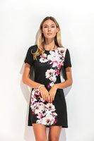 Cheap 2017 nouvelle mode d'été décontractée T-shirt jupe robe noir à manches courtes timbre fixe livraison gratuite