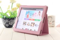 Wholesale Litchi Pattern Flip Leather Smart Case Cover With Stand Holder Folding Folio For ipad