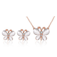 Wholesale Fashion K Gold Butterflies Fly Set Auger Two piece Suit Rose Gold AKS018 Earrings Necklace
