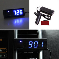 Wholesale New Arrival Automotive Electronic Thermometer Clock Car Voltage Blue LED Noctilucent or10
