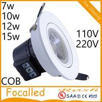 Cheap LED Downlight CREE COB 7W 10W 12W 15W items White shell lights for home Bathroom living room kitchen lighting AC110V 220V