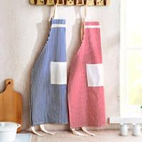 al por mayor algodón delantal rojo-(Azul rojo) Regalo agradable de Monther, delantal de cocina de lino del algodón de la raya de las mujeres Delantal de cocina delantal de cocina 2 bolsillos