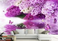 Wholesale Photo Customize size D Classic Home Decor Purple flower water language reflection butterfly background wall