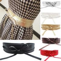 achat en gros de robe enveloppante ceinture-New Exquisite Femmes ceinture en cuir souple Wide Auto Tie Wrap autour de bande de taille Ladies Belt Girls Summer Dress accessoires