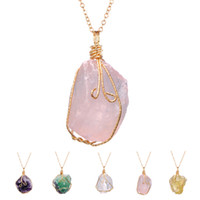 Wholesale Natural Original Stone Jewelry Ore Irregular Amethyst Crystal White Crystal Twisted Wire Necklace Pendant