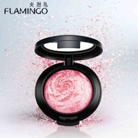 beauty flamingos - Beauty Face Makeup Brand Flamingo Blusher with brush mirror cheek silky felt blusher assorted color baking blusher
