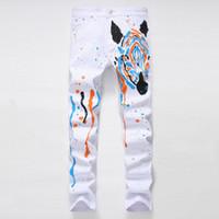 achat en gros de peinture zèbres-2017 Mode unique blanc peints à la main Jeans Homme Africain Steppe Zebra Elastic Cowboy Pantalons Long Pantalons peints à la main 33 34 36 38