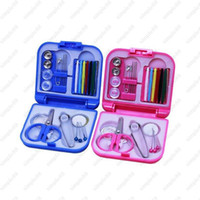 Wholesale Portable Travel Sewing Kit Thread Needles Mini Plastic Case Scissors Tape Pins Thread Threader Set Home Sewing Tools
