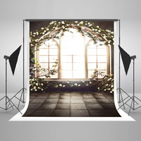 Wholesale 5x7ft x220cm Indoor Window Photography Backgrounds White Flowers Spring Backdrop for Wedding Photo Photographic