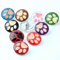 Wholesale assorted Cute Dog paw Prints mm Acrylic Glass Buttons Snaps chunk charms DIY Jewelry for Bracelets brand new