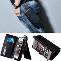 apple ipone - New Multi function wallet holde Satchel protect case in zipper Genuine leather cell phone case for ipone s s plus