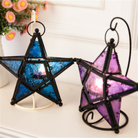 Wholesale The European Style Pentagram Morocco Hurricane Lamp Wrought Iron Color Glass Candlestick Home Decoration Wedding Gift Bar Products