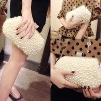 Wholesale Hot Sale Bridal Bag High CM Top Lenghth CM Pearls Diamond Wedding Bag Evening Party Bag Women Handbags Sliver Hasp Femal Bags