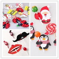 big lollipop candy - Bee Butterfly Ladybug Santa Penguin Mustache Big Lips Printed Lollipop Decorative Card Christmas Birthday Candy Stick Card