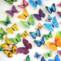 Wholesale Hot set Plastic D Artificial Butterfly Magnet for Fridge Decor Wall Stickers with Glue Home Decoration