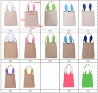 Wholesale 14styles Cotton Linen and Jute Easter Bunny Ears Basket Bag For Easter Gift Packing Easter Handbag For Child Fine Festival Gift m