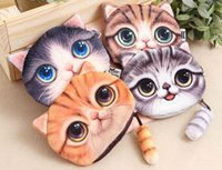 Wholesale Funny D Cat Tail Zipper Case Coin Purse Mini Cute Kids Wallet Kawaii Storage Bag Women Makeup Buggy Bag Pouch Holder
