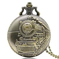 antique engines - New Antique Train Front Locomotive Engine Quartz Pocket Watch Necklace Pendant Chain for Men and Women Birthday Gift P107