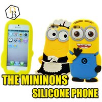 Wholesale Case Galaxy Note Minions - iPhone7 3D Cartoon phone case Despicable Me Minions Minion M2 Silicone Case Cover For iPhone 4 4S 5 5S 6 plus samsung galaxy note 3 4 S4 S5