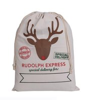 Wholesale 2017 Christmas Large Canvas Monogrammable Santa Claus Drawstring Bag With Reindeers Monogramable Christmas Gift Sack Bags fast shipping