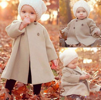apricot woolen - Winter Baby Outwear Baby Girl Woolen Coat Long Sleeve Warm Windbreaker Fashion Double Breasted Trench Coats Apricot Color