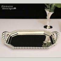 Wholesale fashion iron beads pallet with handle rectangular fruit tray cake pan dessert plate pasty rack wedding table decoration