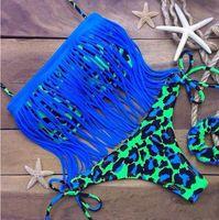 achat en gros de franges rembourrée maillots de bain-Hot Women's Fringe Bikini Swimwear Leopard Print Deux pièces Halter Padded Girl Lady Natation Maillot de bain maillot de bain Top Bottom Sexy Tassels