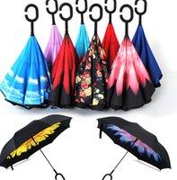 Wholesale Car Inverted Umbrellas Inside Out Reverse Umbrella C Handle Self Standing Windproof Rainy Sunny Umbrella Fold Umbrellas KKA1162