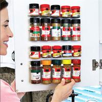 Wholesale 4 rows set Spice Rack Spice Wall Storage Plastic Kitchen Organizer Rack Cabinet Door Hooks SET Kitchen Accessories